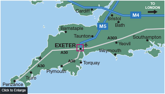 Exeter on Map